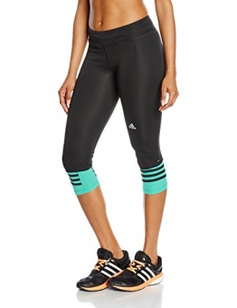 adidas Damen Oberbekleidung Response 3/4 Tights Women, Black/Shock Green S16, XS, AI8290 -