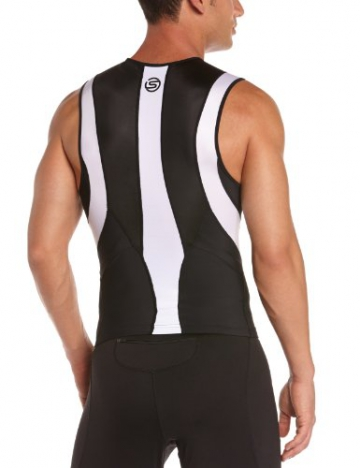 Skins Herren Sportkompressionstextilien Tri 400 Mens Top Sleeveless W Zip, Black/White, XL, T50055030XL - 2